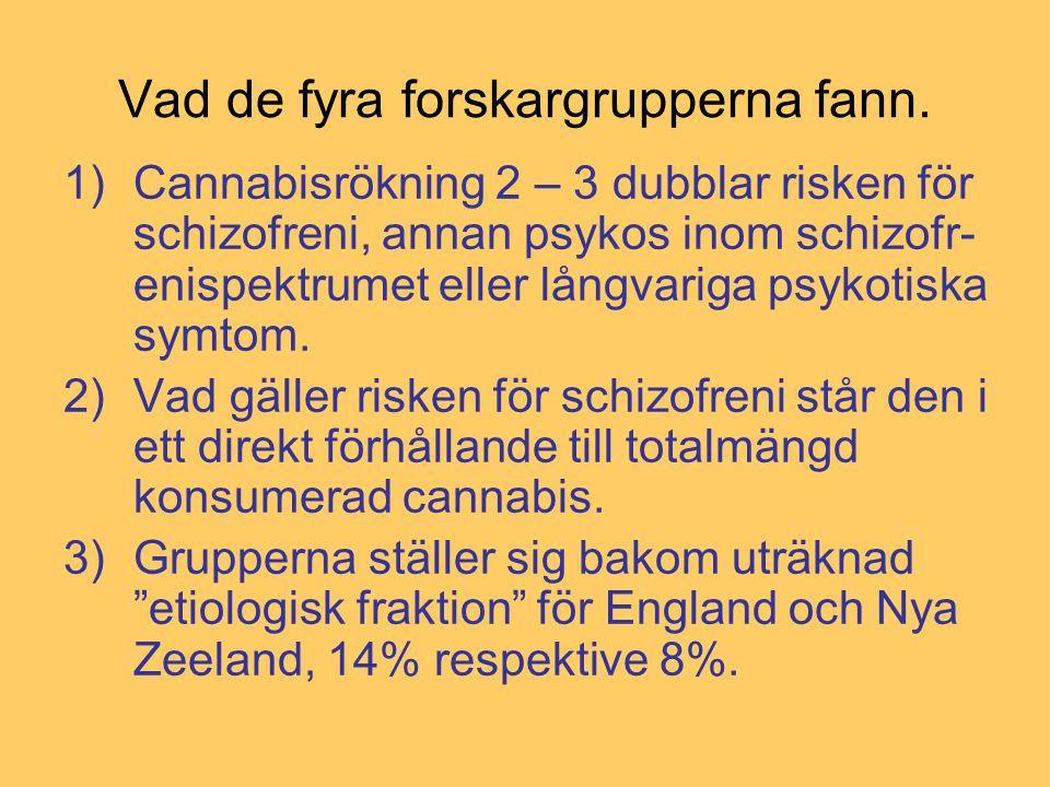 Vad de fyra forskargrupperna fann. 1)Cannabisrökning 2 – 3 dubblar risken för schizofreni, annan psykos inom schizofr- enispektrumet eller långvariga