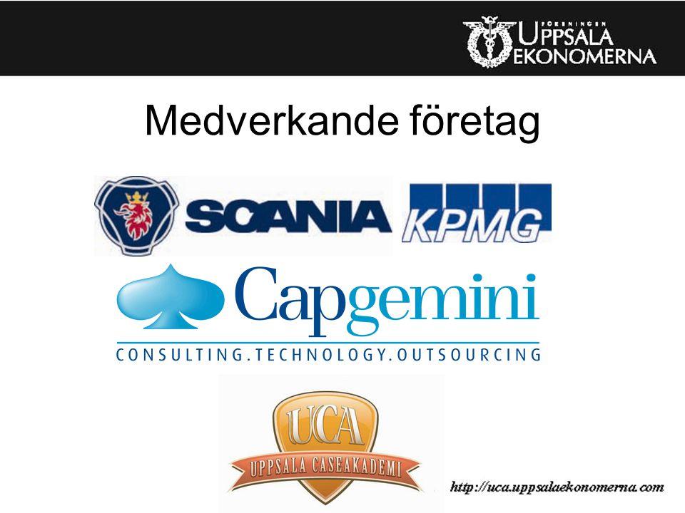 Upplägg Uppsala CaseAkademi 20-25 deltagare Indelade i 4-5 personer/grupp Projektgruppen delar in, men det går bra att komma med förslag om grupp i samband med ansökan