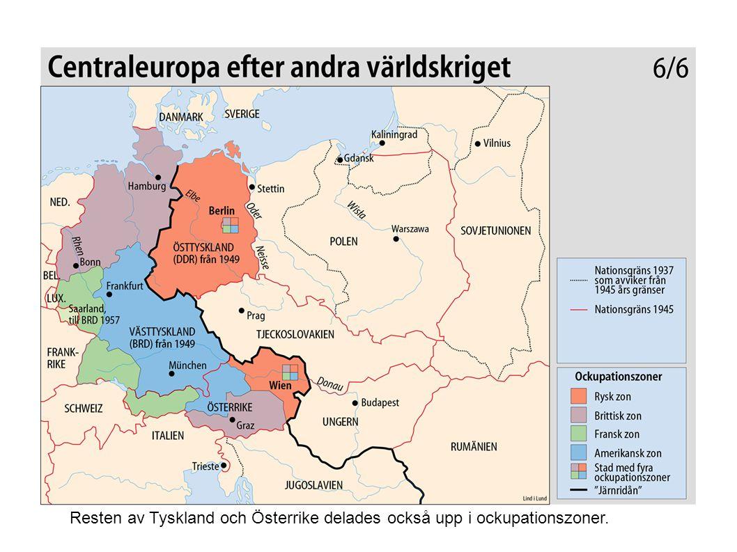 Resten av Tyskland och Österrike delades också upp i ockupationszoner.