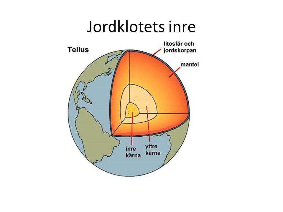 Jordklotets delar Jordklotet har fyra lager: jordskorpan, mantel, yttre och inre kärnan (tänk på äpplet!).