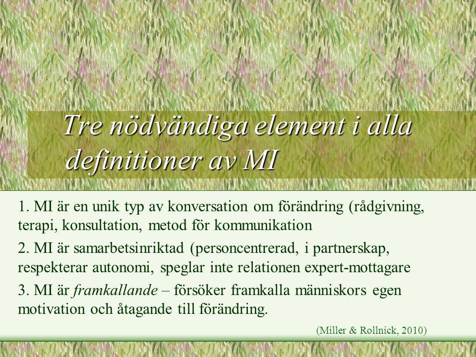 Tre nödvändiga element i alla definitioner av MI Tre nödvändiga element i alla definitioner av MI 1. MI är en unik typ av konversation om förändring (