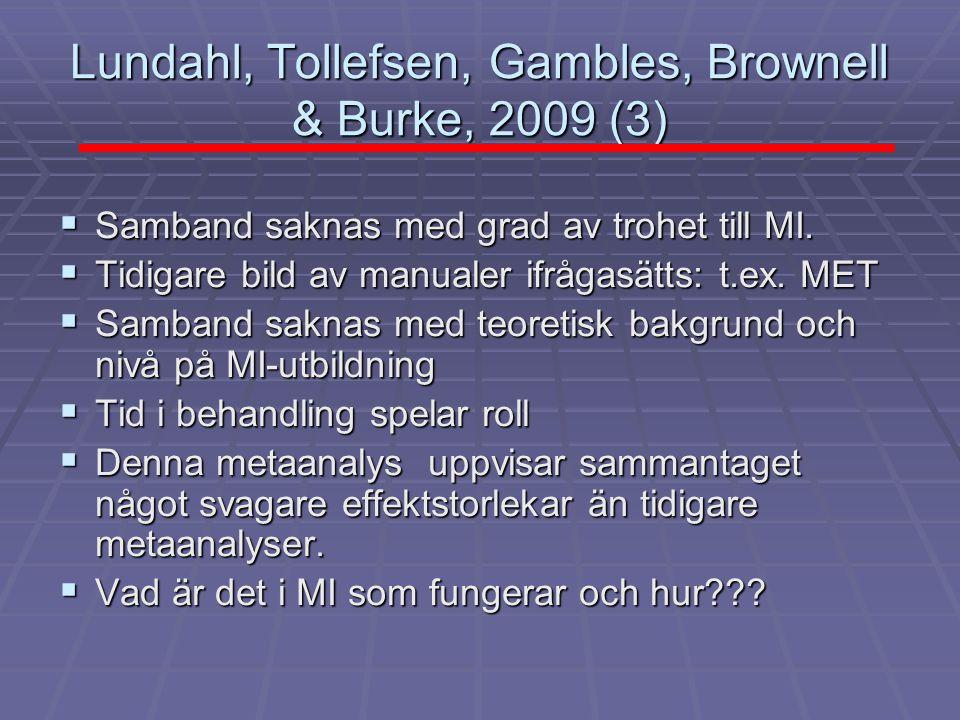 Lundahl, Tollefsen, Gambles, Brownell & Burke, 2009 (3)  Samband saknas med grad av trohet till MI.  Tidigare bild av manualer ifrågasätts: t.ex. ME
