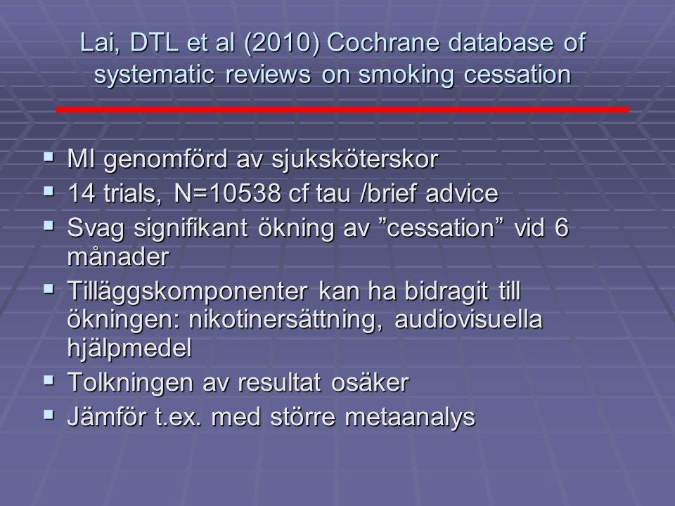 Lai, DTL et al (2010) Cochrane database of systematic reviews on smoking cessation  MI genomförd av sjuksköterskor  14 trials, N=10538 cf tau /brief