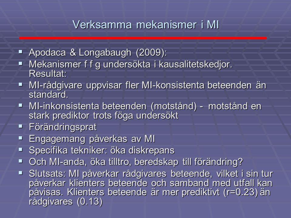 Verksamma mekanismer i MI  Apodaca & Longabaugh (2009):  Mekanismer f f g undersökta i kausalitetskedjor. Resultat:  MI-rådgivare uppvisar fler MI-