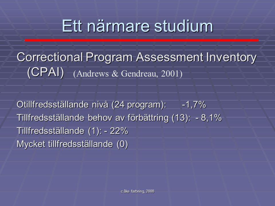 c åke farbring, 2008 Ett närmare studium Correctional Program Assessment Inventory (CPAI) Otillfredsställande nivå (24 program): -1,7% Tillfredsställa