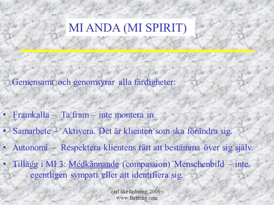 carl åke farbring, 2009 - www.farbring.com MI ANDA (MI SPIRIT) Gemensamt och genomsyrar alla färdigheter: Framkalla – Ta fram – inte montera in Samarb
