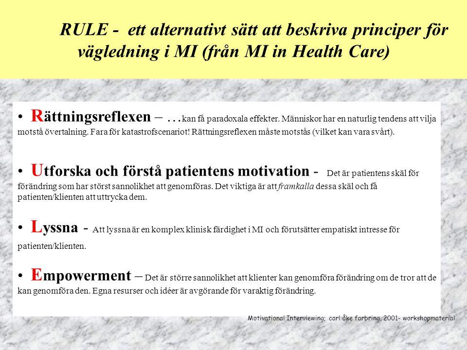 RULE - ett alternativt sätt att beskriva principer för vägledning i MI (från MI in Health Care) R ättningsreflexen – … kan få paradoxala effekter. Män
