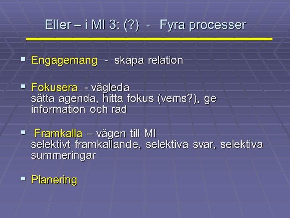 Eller – i MI 3: (?) - Fyra processer  Engagemang - skapa relation  Fokusera - vägleda sätta agenda, hitta fokus (vems?), ge information och råd  Fr