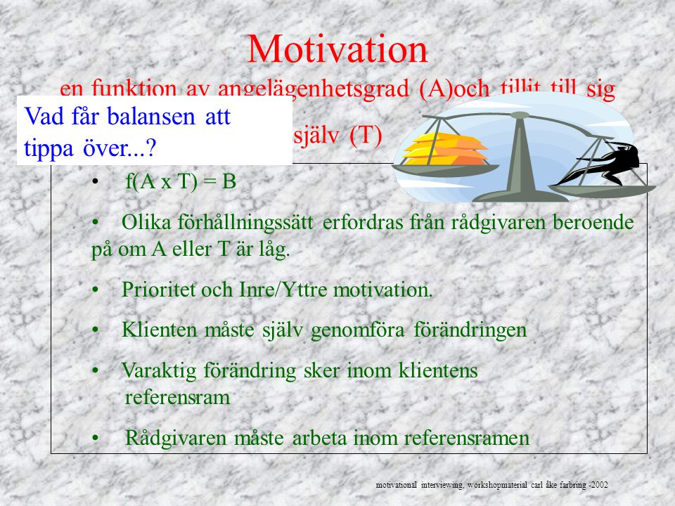 Motivation en funktion av angelägenhetsgrad (A)och tillit till sig själv (T) f(A x T) = B Olika förhållningssätt erfordras från rådgivaren beroende på