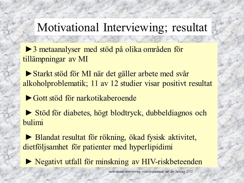 Motivational Interviewing; resultat ►3 metaanalyser med stöd på olika områden för tillämpningar av MI ►Starkt stöd för MI när det gäller arbete med sv