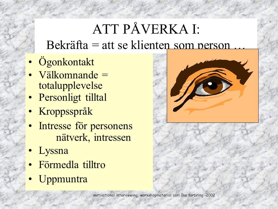 ATT PÅVERKA I: Bekräfta = att se klienten som person … Ögonkontakt Välkomnande = totalupplevelse Personligt tilltal Kroppsspråk Intresse för personens