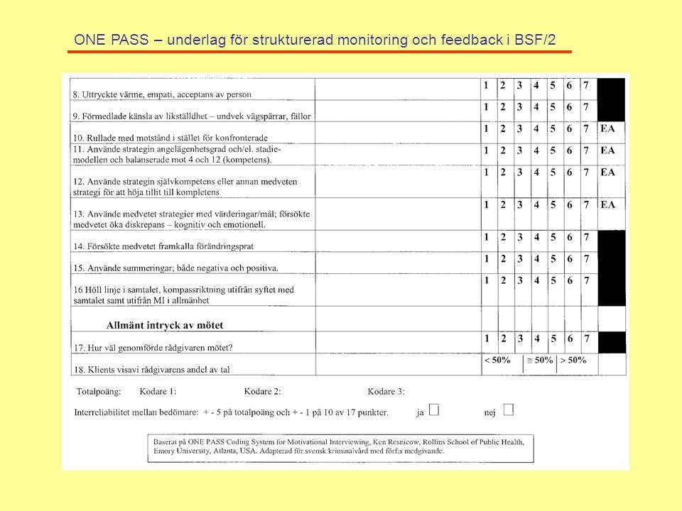 ONE PASS – underlag för strukturerad monitoring och feedback i BSF/2