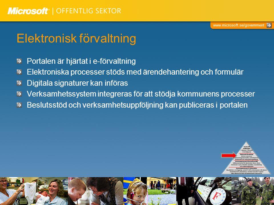 www.microsoft.se/government Elektronisk förvaltning Portalen är hjärtat i e-förvaltning Elektroniska processer stöds med ärendehantering och formulär