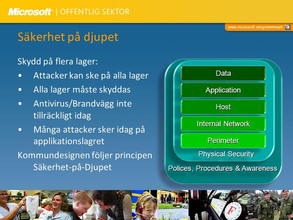 www.microsoft.se/government Säkerhet på djupet Skydd på flera lager: Attacker kan ske på alla lager Alla lager måste skyddas Antivirus/Brandvägg inte