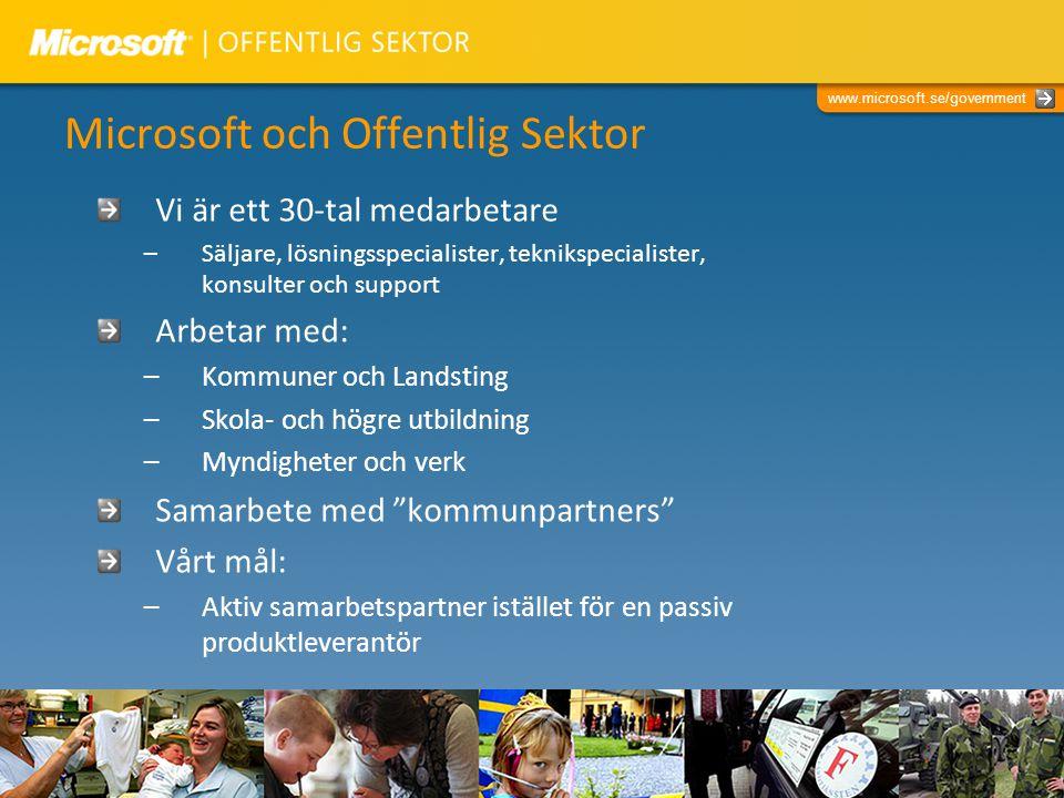 www.microsoft.se/government Microsoft och Offentlig Sektor Vi är ett 30-tal medarbetare –Säljare, lösningsspecialister, teknikspecialister, konsulter
