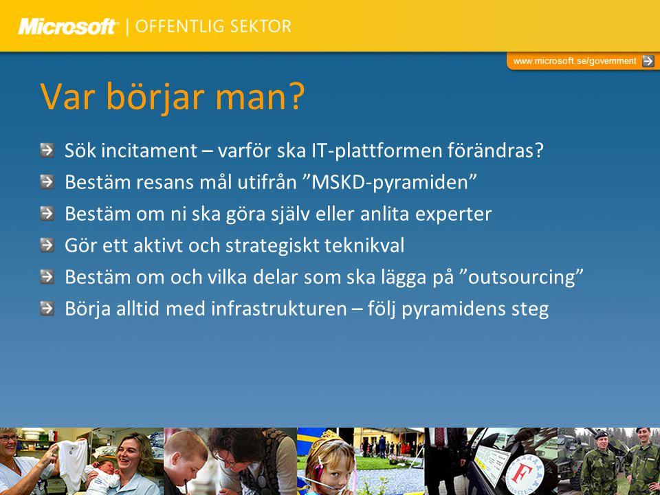 """www.microsoft.se/government Var börjar man? Sök incitament – varför ska IT-plattformen förändras? Bestäm resans mål utifrån """"MSKD-pyramiden"""" Bestäm om"""