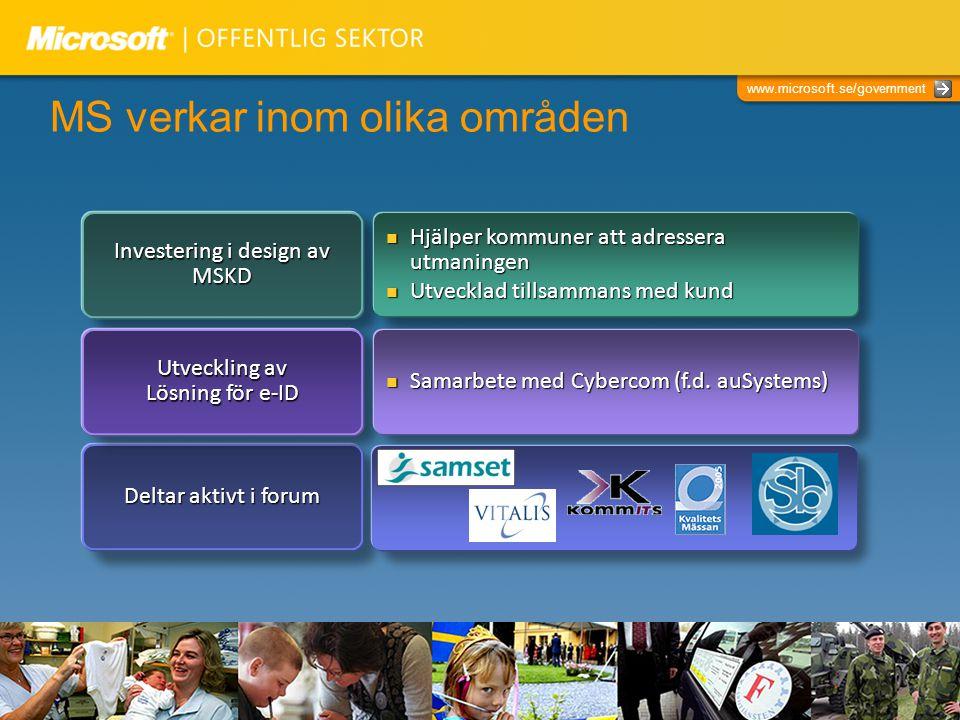 www.microsoft.se/government MS verkar inom olika områden Deltar aktivt i forum Investering i design av MSKD Hjälper kommuner att adressera utmaningen