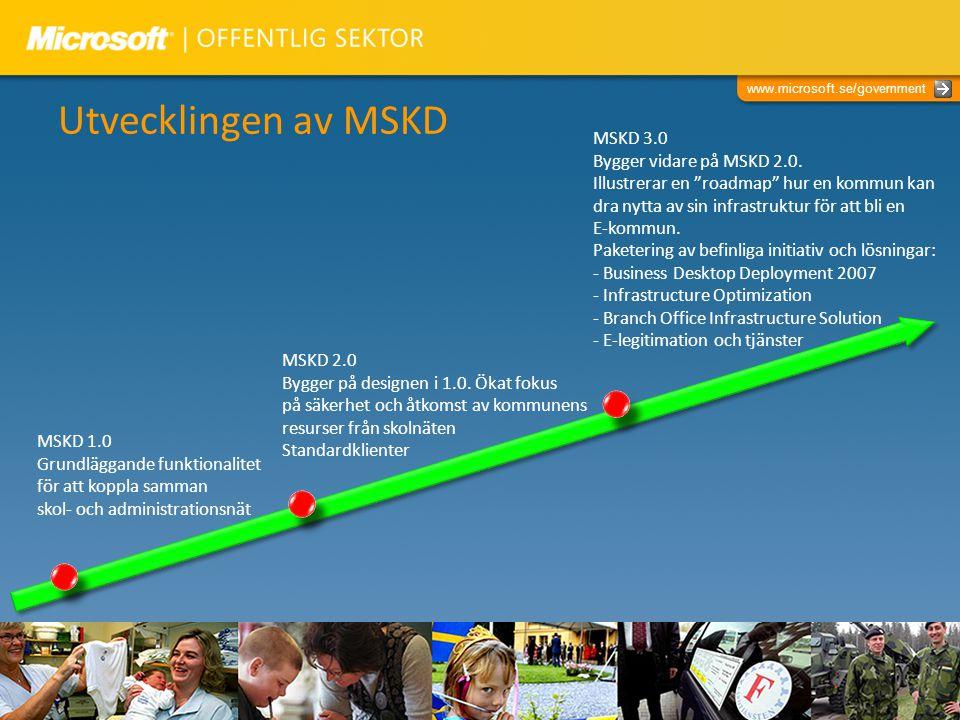 www.microsoft.se/government Utvecklingen av MSKD MSKD 1.0 Grundläggande funktionalitet för att koppla samman skol- och administrationsnät MSKD 2.0 Byg