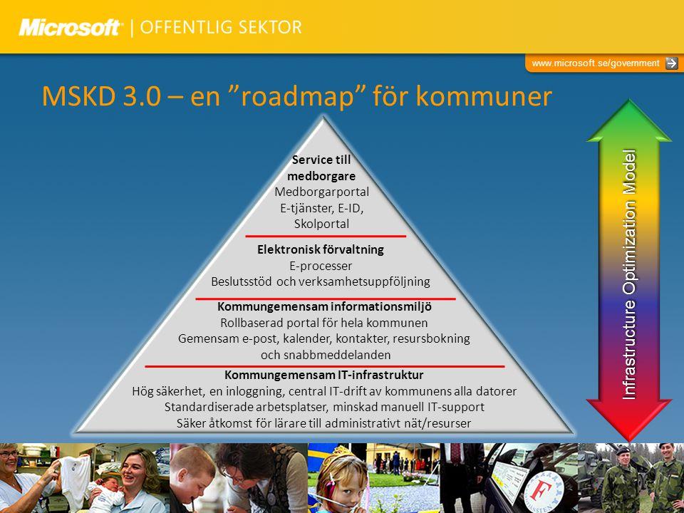 """www.microsoft.se/government MSKD 3.0 – en """"roadmap"""" för kommuner Kommungemensam IT-infrastruktur Hög säkerhet, en inloggning, central IT-drift av komm"""