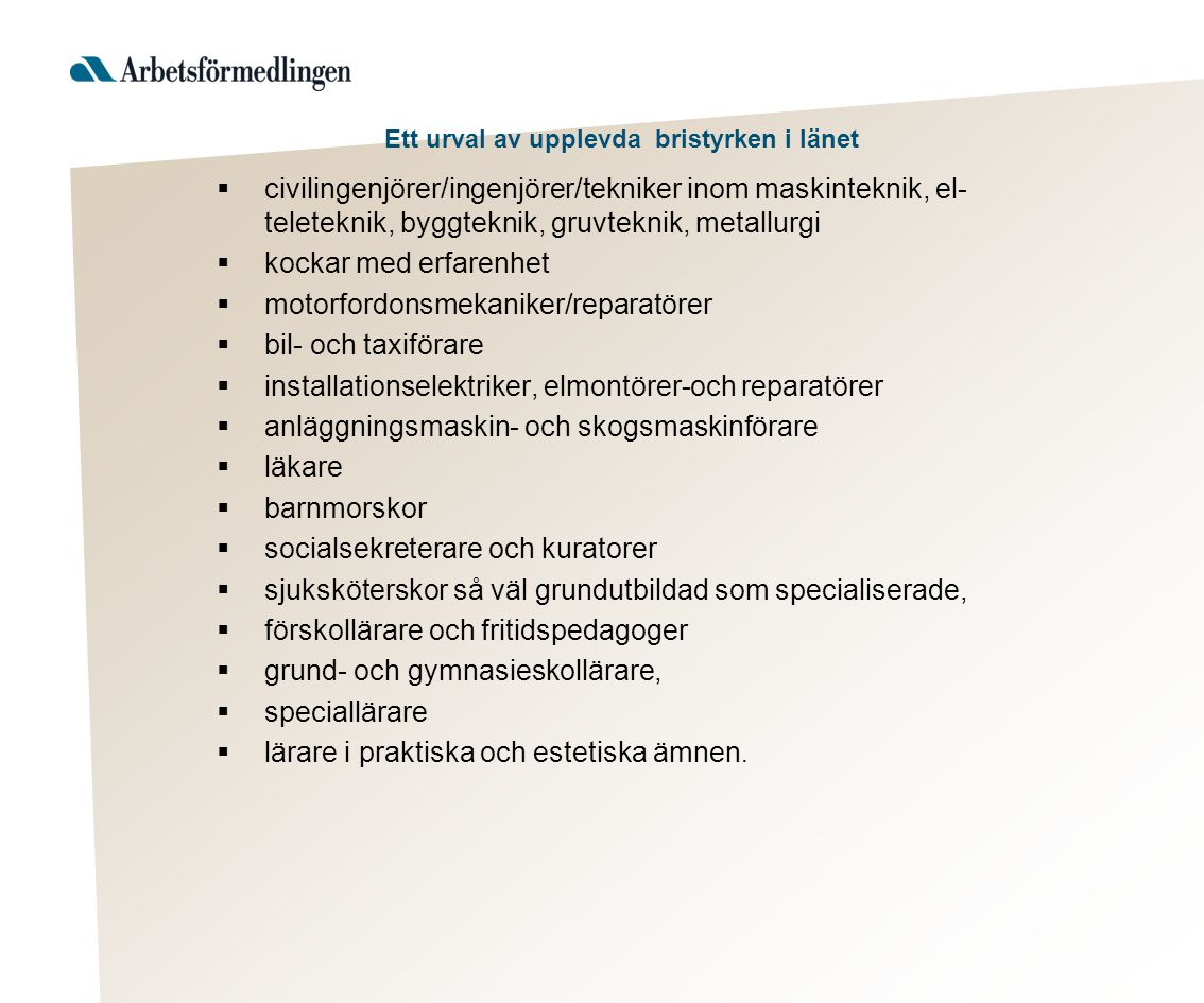 Ett urval av upplevda bristyrken i länet  civilingenjörer/ingenjörer/tekniker inom maskinteknik, el- teleteknik, byggteknik, gruvteknik, metallurgi 