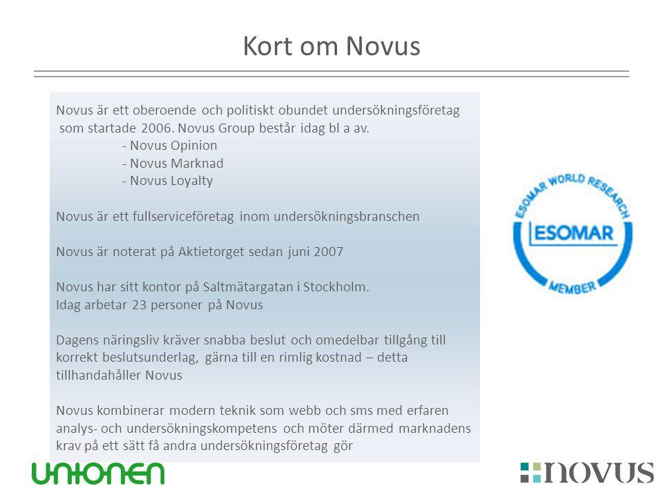 Kort om Novus Novus är ett oberoende och politiskt obundet undersökningsföretag som startade 2006. Novus Group består idag bl a av. - Novus Opinion -