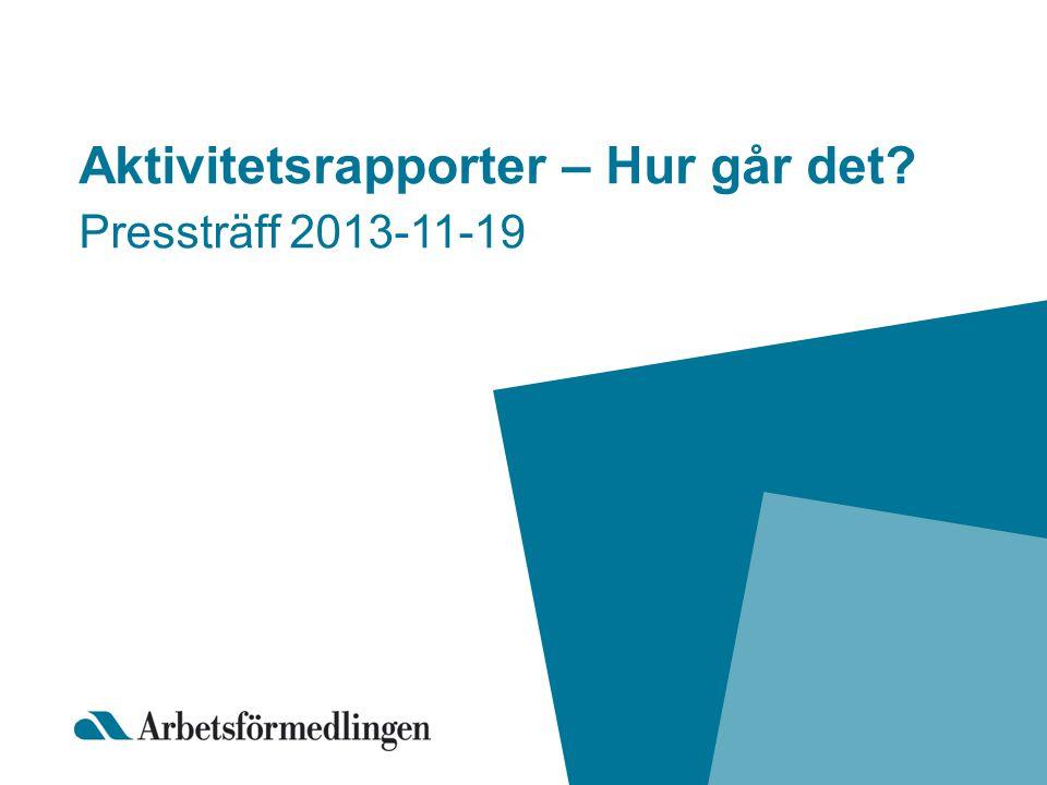 Aktivitetsrapporter – Hur går det? Pressträff 2013-11-19