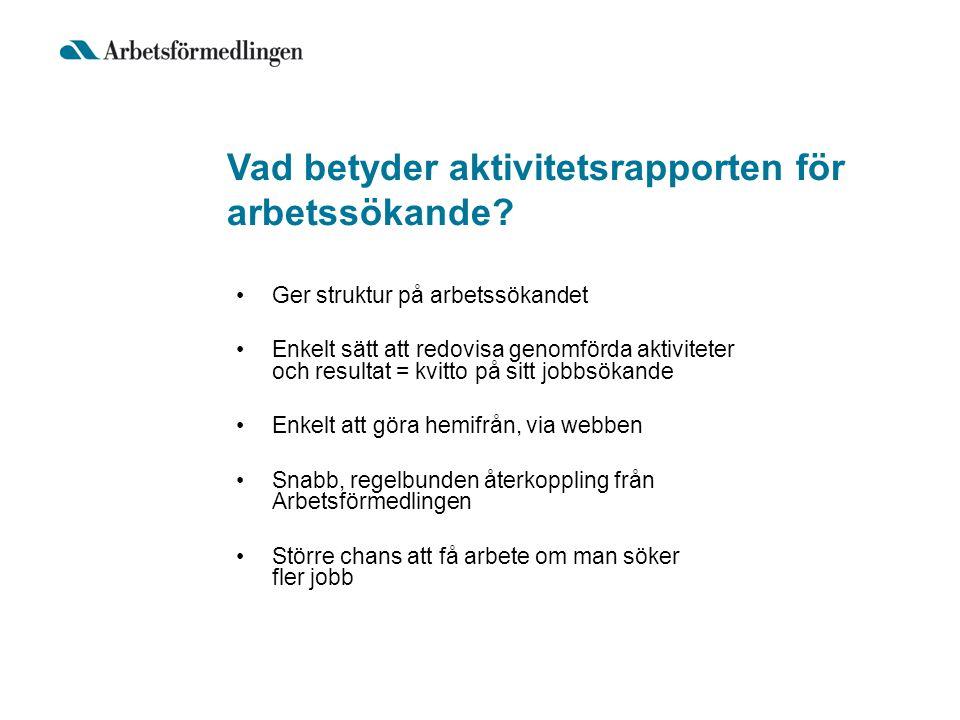 Vad betyder aktivitetsrapporten för arbetssökande? Ger struktur på arbetssökandet Enkelt sätt att redovisa genomförda aktiviteter och resultat = kvitt