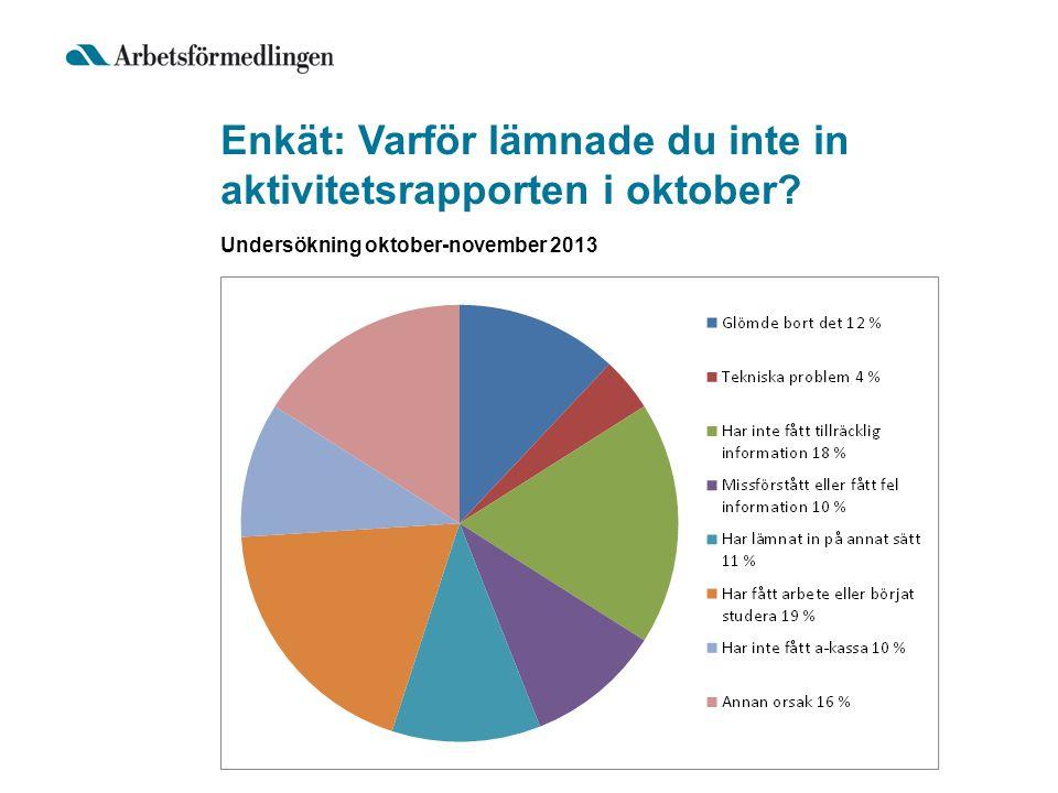 Enkät: Varför lämnade du inte in aktivitetsrapporten i oktober? Undersökning oktober-november 2013