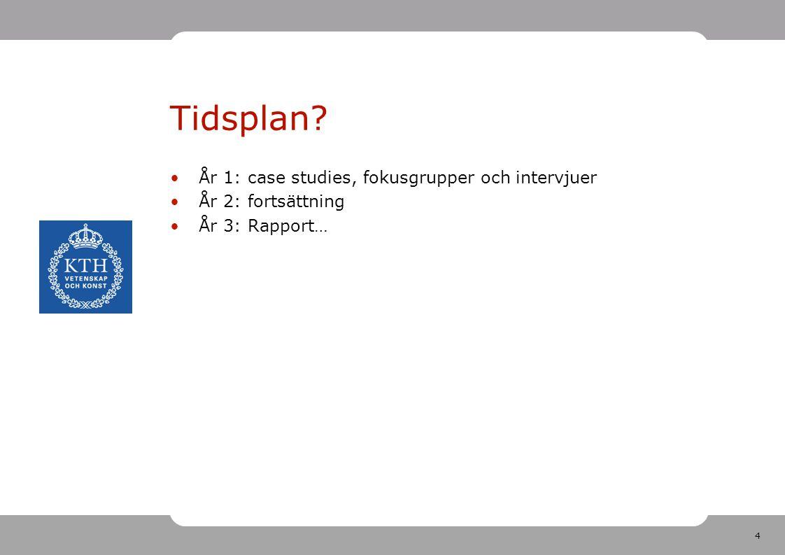 4 Tidsplan? År 1: case studies, fokusgrupper och intervjuer År 2: fortsättning År 3: Rapport…