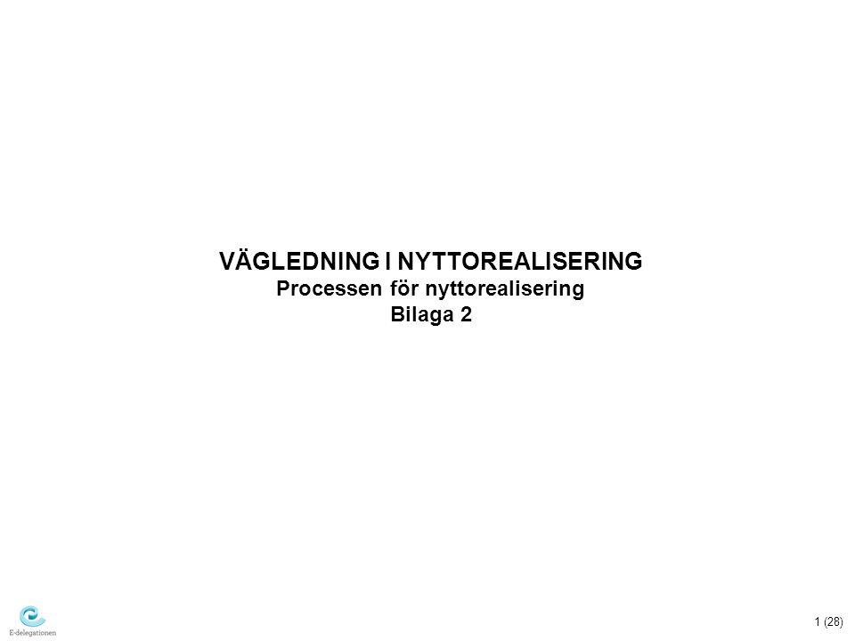 1 (28) VÄGLEDNING I NYTTOREALISERING Processen för nyttorealisering Bilaga 2