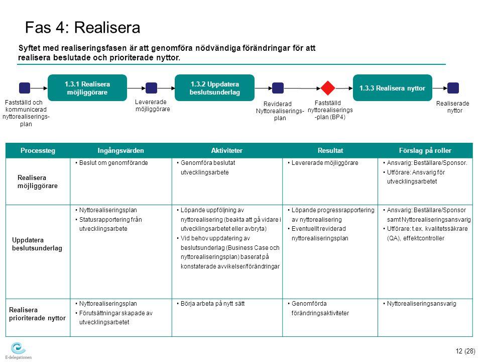 12 (28) Fas 4: Realisera Syftet med realiseringsfasen är att genomföra nödvändiga förändringar för att realisera beslutade och prioriterade nyttor.