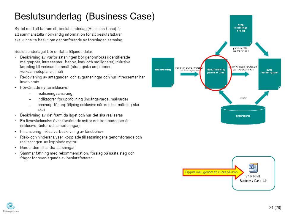 24 (28) Beslutsunderlag (Business Case) Syftet med att ta fram ett beslutsunderlag (Business Case) är att sammanställa nödvändig information för att beslutsfattaren ska kunna ta beslut om genomförande av föreslagen satsning.