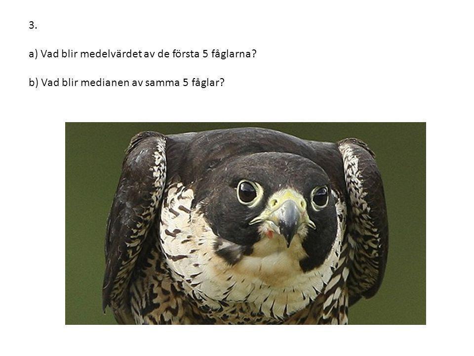 3. a) Vad blir medelvärdet av de första 5 fåglarna? b) Vad blir medianen av samma 5 fåglar?