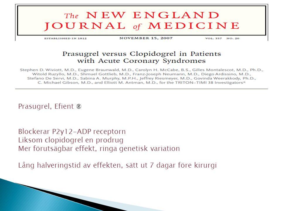 Prasugrel, Efient ® Blockerar P2y12-ADP receptorn Liksom clopidogrel en prodrug Mer förutsägbar effekt, ringa genetisk variation Lång halveringstid av