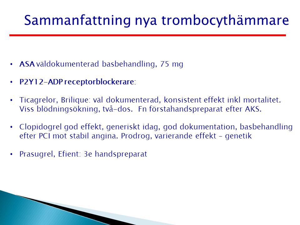 Sammanfattning nya trombocythämmare ASA väldokumenterad basbehandling, 75 mg P2Y12-ADP receptorblockerare: Ticagrelor, Brilique: väl dokumenterad, kon