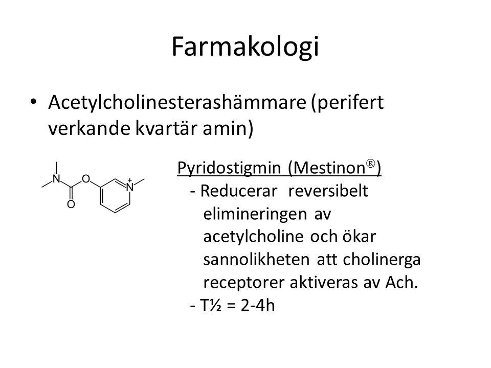 Farmakologi Acetylcholinesterashämmare (perifert verkande kvartär amin) Pyridostigmin (Mestinon  ) - Reducerar reversibelt elimineringen av acetylcho