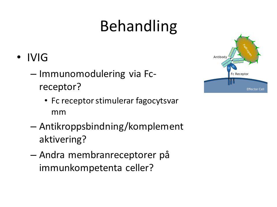 Behandling IVIG – Immunomodulering via Fc- receptor? Fc receptor stimulerar fagocytsvar mm – Antikroppsbindning/komplement aktivering? – Andra membran