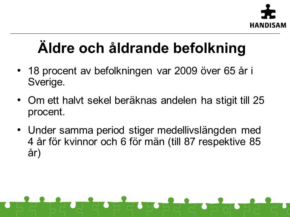Äldre och åldrande befolkning 18 procent av befolkningen var 2009 över 65 år i Sverige. Om ett halvt sekel beräknas andelen ha stigit till 25 procent.