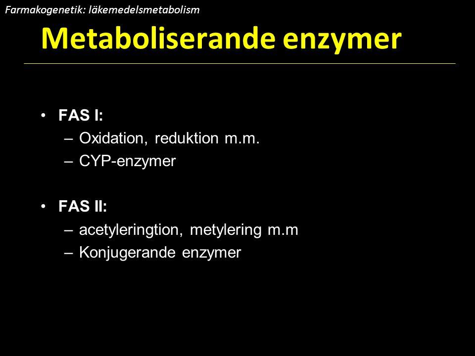 Metaboliserande enzymer FAS I: –Oxidation, reduktion m.m. –CYP-enzymer FAS II: –acetyleringtion, metylering m.m –Konjugerande enzymer Farmakogenetik: