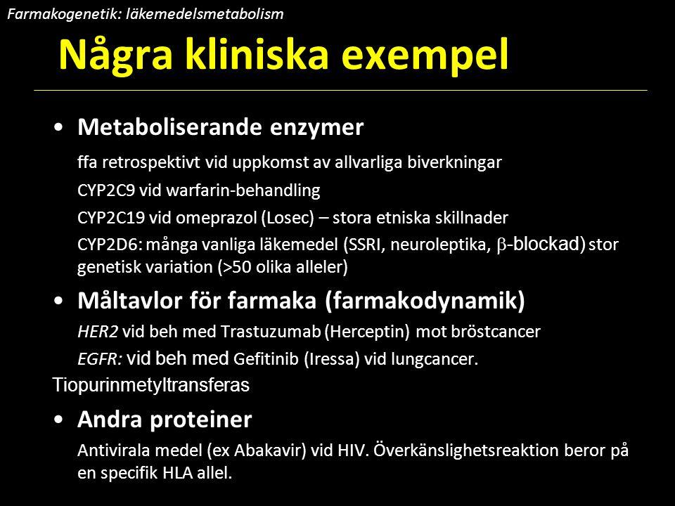 Några kliniska exempel Metaboliserande enzymer ffa retrospektivt vid uppkomst av allvarliga biverkningar CYP2C9 vid warfarin-behandling CYP2C19 vid om