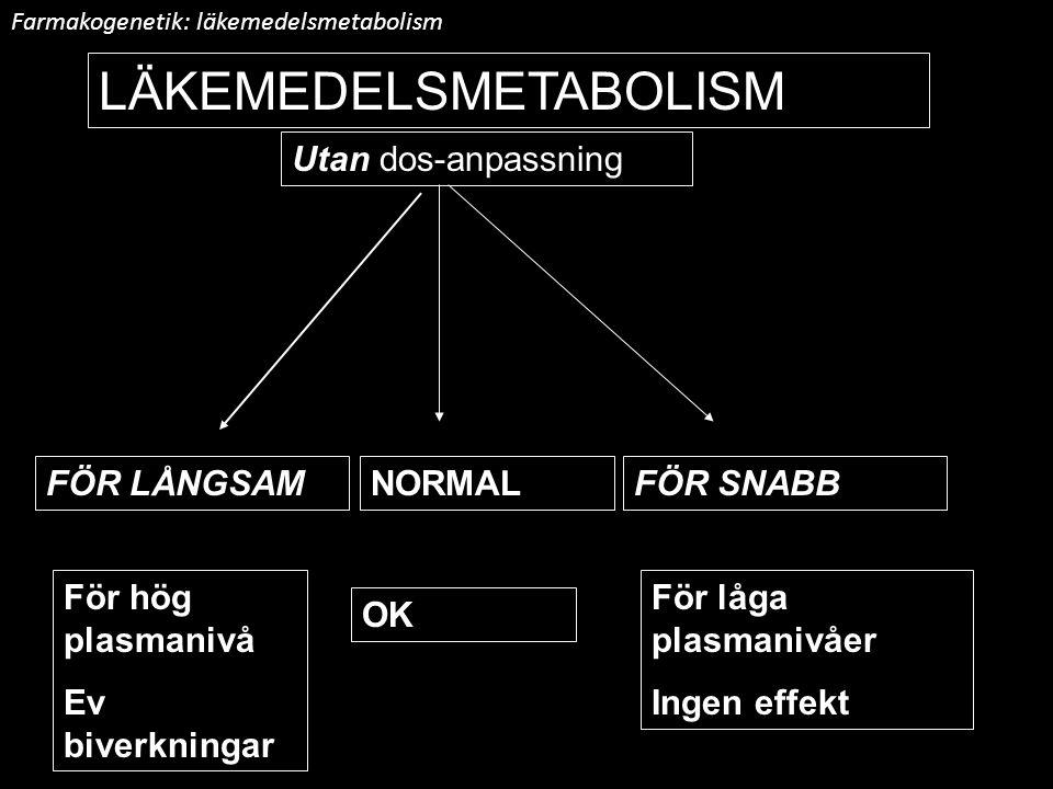 NORMALFÖR SNABBFÖR LÅNGSAM LÄKEMEDELSMETABOLISM Med dos-anpassning Farmakogenetik: läkemedelsmetabolism Genotyp:a/aA/aA/A