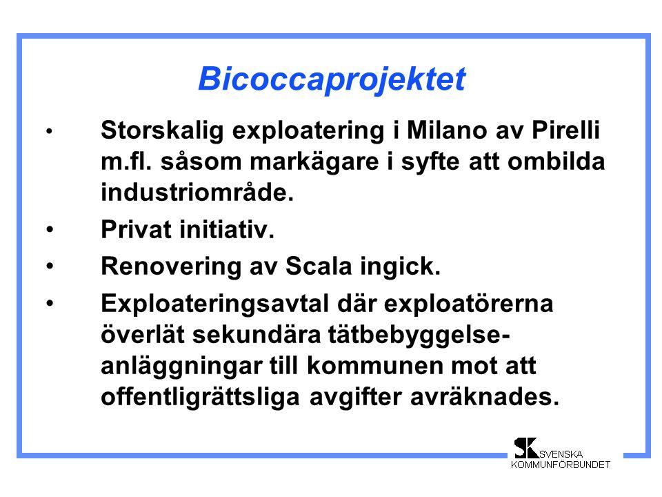 Bicoccaprojektet Storskalig exploatering i Milano av Pirelli m.fl. såsom markägare i syfte att ombilda industriområde. Privat initiativ. Renovering av