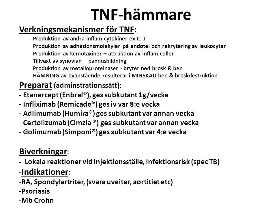 TNF-hämmare Verkningsmekanismer för TNF: Produktion av andra inflam cytokiner ex IL-1 Produktion av adhesionsmolekyler på endotel och rekrytering av l