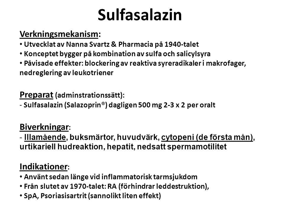 Sulfasalazin Verkningsmekanism: Utvecklat av Nanna Svartz & Pharmacia på 1940-talet Konceptet bygger på kombination av sulfa och salicylsyra Påvisade