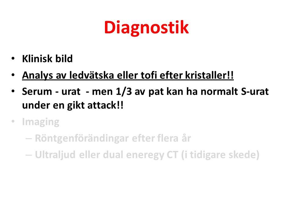 Diagnostik Klinisk bild Analys av ledvätska eller tofi efter kristaller!! Serum - urat - men 1/3 av pat kan ha normalt S-urat under en gikt attack!! I