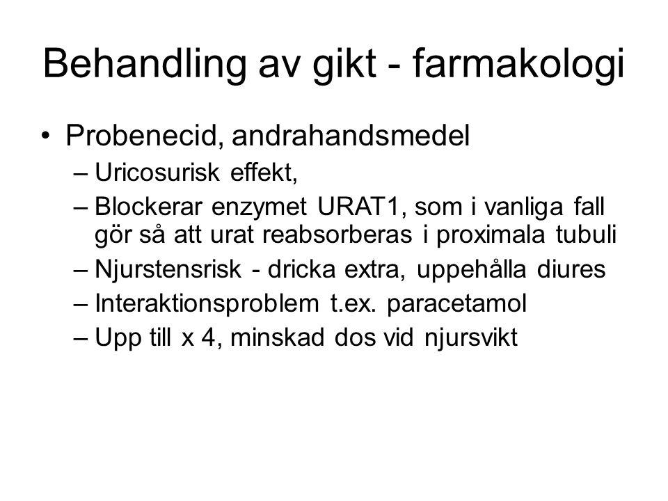 Behandling av gikt - farmakologi Probenecid, andrahandsmedel –Uricosurisk effekt, –Blockerar enzymet URAT1, som i vanliga fall gör så att urat reabsor