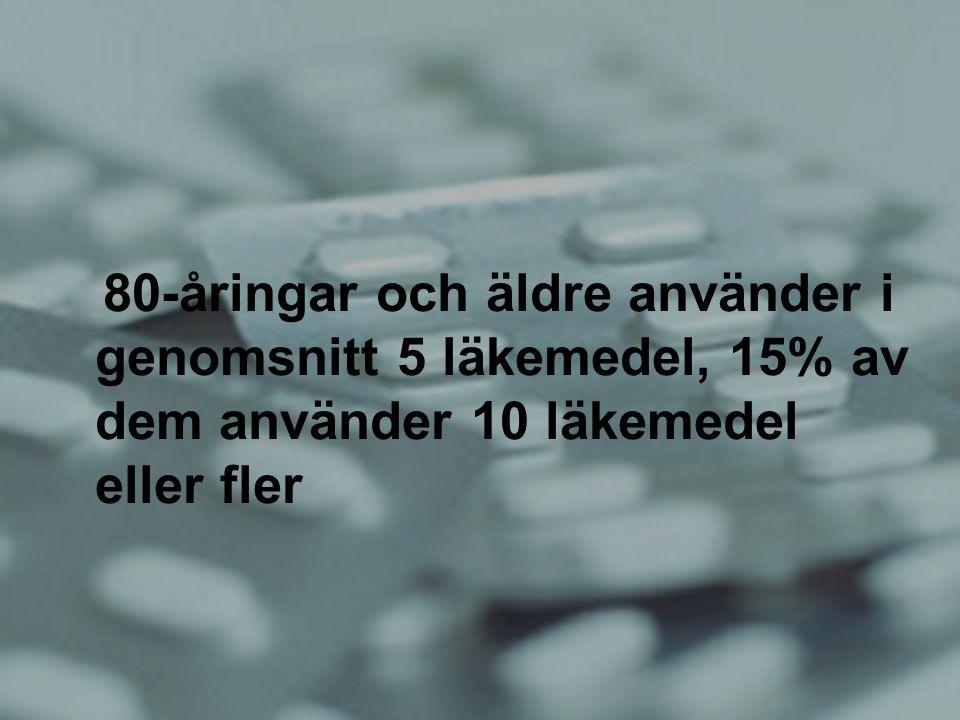 Sten Landahl 80-åringar och äldre använder i genomsnitt 5 läkemedel, 15% av dem använder 10 läkemedel eller fler
