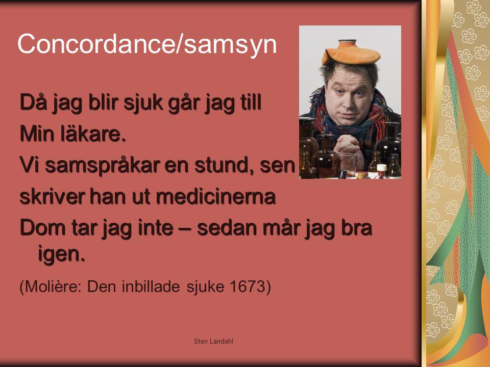 Sten Landahl Concordance/samsyn Då jag blir sjuk går jag till Min läkare. Vi samspråkar en stund, sen skriver han ut medicinerna Dom tar jag inte – se