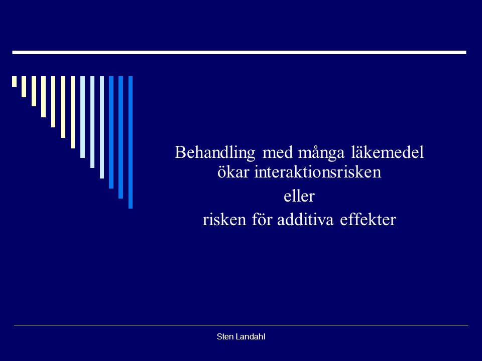 Sten Landahl Behandling med många läkemedel ökar interaktionsrisken eller risken för additiva effekter