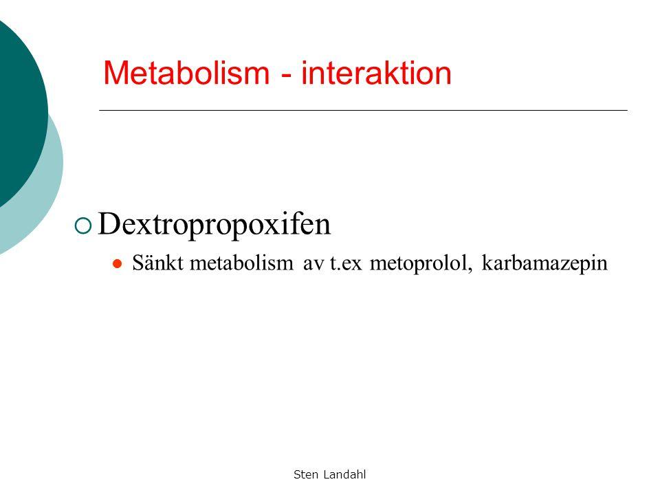 Sten Landahl Metabolism - interaktion  Dextropropoxifen Sänkt metabolism av t.ex metoprolol, karbamazepin